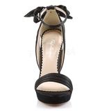Zwart Satijn 12 cm LUMINA-25 Hoge Avond Sandalen met Hak