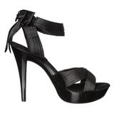 Zwart Satijn 13 cm COCKTAIL-568 Sandalen met Hoge Hak