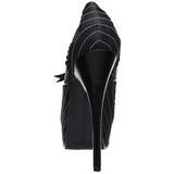 Zwart Satijn 14,5 cm Burlesque BORDELLO TEEZE-01 Plateau Pumps Hoge Hak