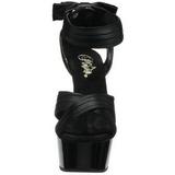 Zwart Satijn 15 cm DELIGHT-668 Hoge Avond Sandalen met Hak