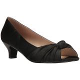 Zwart Satijn 5 cm FAB-422 grote maten pumps schoenen