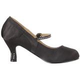 Zwart Satijn 8 cm FLAPPER-20 Dames Pumps Schoenen Plat