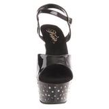 Zwart Strass 15 cm STARDUST-609 damesschoenen met hoge hak