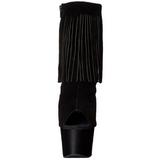 Zwart Suede 18 cm ADORE-1019 dames enkellaarsjes met franjes