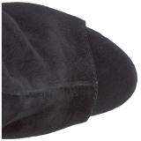 Zwart Suede 18 cm Pleaser ADORE-1018 Plateau Enkellaarzen