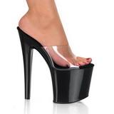 Zwart Transparant 19 cm TABOO-701 Hoge Dames Slippers