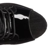 Zwart Transparant 20 cm FLAMINGO-1021 dames enkellaarsjes met plateauzool