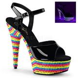 Zwart Vernis 15 cm DELIGHT-609RBS Sandalen met Neon Plateau