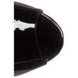 Zwart Vinyl 16,5 cm ILLUSION-1021 enkellaarsjes met plateauzool