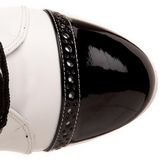 Zwart Wit 10,5 cm EXOTICA-1050 dames enkellaarsjes met plateauzool