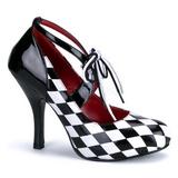 Zwart Wit 10,5 cm HARLEQUIN-03 damesschoenen met hoge hak