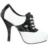 Zwart Wit 11,5 cm SADDLE-48 Oxford damesschoenen met hoge hak