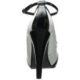 Zwart Wit 11,5 cm retro vintage BETTIE-22 damesschoenen met hoge hak