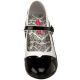 Zwart Wit 11,5 cm rockabilly TEMPT-07 damesschoenen met hoge hak