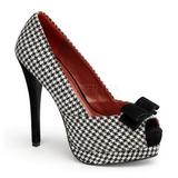 Zwart Wit 13,5 cm BELLA-11 plateau pumps schoenen met open teen