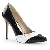 Zwart Wit 13 cm AMUSE-26 damesschoenen met hoge hak