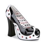 Zwart Wit 13 cm POKER-21 damesschoenen met hoge hak