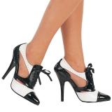 Zwart Wit 13 cm SEDUCE-458 Oxford damesschoenen met hoge hak
