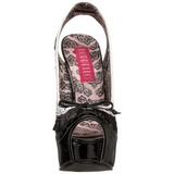Zwart Wit 14,5 cm Burlesque TEEZE-17 damesschoenen met hoge hak
