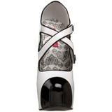 Zwart Wit 14,5 cm Burlesque TEEZE-23 damesschoenen met hoge hak