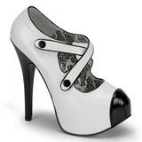 Zwart Wit 14,5 cm TEEZE-23 damesschoenen met hoge hak