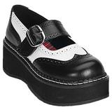 Zwart Wit 5 cm EMILY-302 lolita schoenen gothic dikke zolen