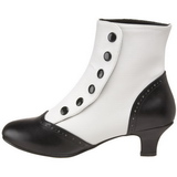 Zwart Wit 5 cm FLORA-1023 Dames Enkellaarzen