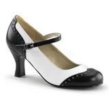 Zwart Wit 7,5 cm FLAPPER-25 Dames Pumps Schoenen Plat