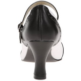 Zwart Wit 7,5 cm retro vintage FLAPPER-25 Dames pumps met lage hak
