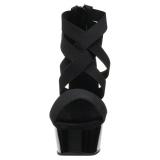 Zwart elastische band 15 cm DELIGHT-669 pleaser schoenen met hak