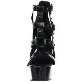 Zwart gladiator 15 cm DELIGHT-682 Sandalen met Hoge Hak