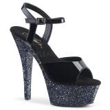 Zwart glitter 15 cm Pleaser KISS-209LG paaldans schoenen met hoge hakken