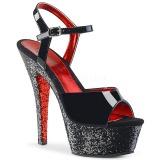 Zwart glitter 15 cm Pleaser KISS-209TTG paaldans schoenen met hoge hakken