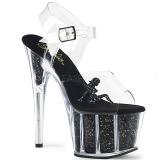 Zwart glitter 18 cm Pleaser ADORE-708GTG paaldans sandalen met hoge hakken