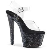 Zwart glitter 18 cm Pleaser SKY-308LG paaldans schoenen met hoge hakken