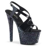 Zwart glitter 18 cm Pleaser SKY-330LG paaldans schoenen met hoge hakken