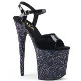 Zwart glitter 20 cm Pleaser FLAMINGO-809LG paaldans schoenen met hoge hakken