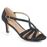 Zwart glitter 6,5 cm Fabulicious MISSY-03 sandalen met naaldhak