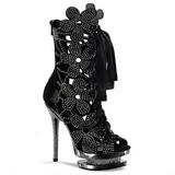 Zwart kristal steentjes 15 cm FANTASIA-1020 plateau dames enkellaarsjes