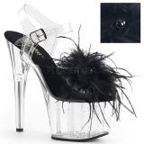 Zwart maraboe veren 18 cm ADORE-708MF paaldans schoenen met hak