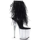 Zwart maraboe veren 20 cm FLAMINGO-1017MFF paaldans schoenen met hak