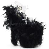 Zwart maraboe veren 20 cm FLAMINGO-808F paaldans schoenen met hak