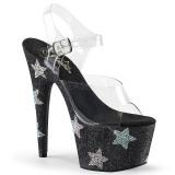 Zwart strass steentjes 18 cm ADORE-708STAR paaldans schoenen met hoge hakken