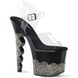 Zwart strass steentjes 18 cm SCALLOP-708-2RS paaldans schoenen met hoge hakken