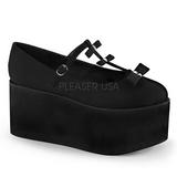 Zwart zeildoek 8 cm CLICK-08 lolita gothic schoenen dikke zolen