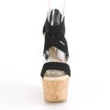 Zwarte band 16,5 cm BEAU-669 wedge sandalen met kurk sleehak